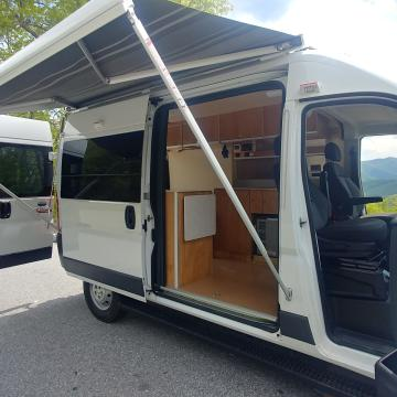Awning open on ProMaster Charlie