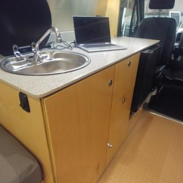 sink and fridge cabinet