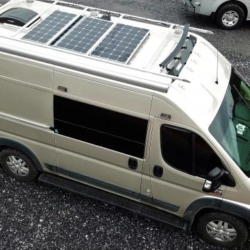 Ram ProMaster solar panels and bike rack
