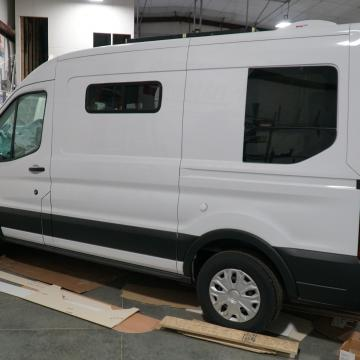 Ford Transit with windows installed