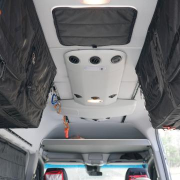 Factory headliner and AC with installed Ltrack