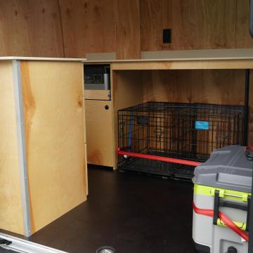 dog crate and cooler storage