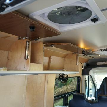 Maxxair fan and upper cabinetry